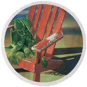 Red Adirondack Chair Round Beach Towel