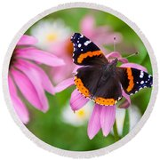 Round Beach Towel featuring the photograph Red Admiral Butterfly by Patti Deters