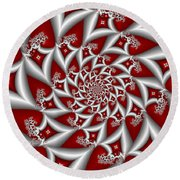 Red An Gray Round Beach Towel