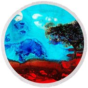 Red And Blue Landscape By Sharon Cummings Round Beach Towel