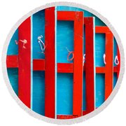 Red And Blue Wooden Shutters Round Beach Towel