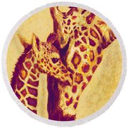 Red And Gold Giraffes Round Beach Towel