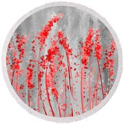 Red And Gray Art Round Beach Towel by Lourry Legarde