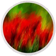 Red And Green Round Beach Towel by Lourry Legarde
