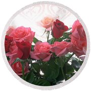 Red And Pink Roses In Window Round Beach Towel