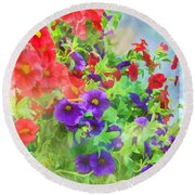 Red And Purple Calibrachoa - Digital Paint I Round Beach Towel