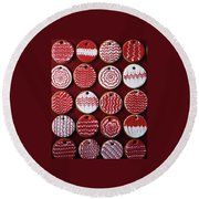 Red And White Christmas Cookies Round Beach Towel