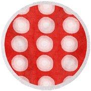 Red And White Shibori Circles Round Beach Towel by Linda Woods