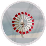 Round Beach Towel featuring the photograph Red And White Windmill by Cynthia Guinn