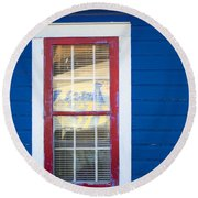 Red And White Window In Blue Wall Round Beach Towel