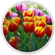 Round Beach Towel featuring the photograph Red And Yellow Tulips  by Allen Beatty
