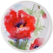 Red Anemones Round Beach Towel by Marna Edwards Flavell