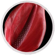Red Anthurium #3 Round Beach Towel