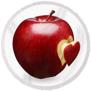 Red Apple With Heart Round Beach Towel