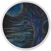 Red At Midnight Round Beach Towel