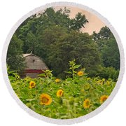 Red Barn Among The Sunflowers Round Beach Towel by Sandi OReilly