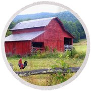 Red Barn And Rooster Round Beach Towel