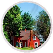 Round Beach Towel featuring the photograph Red Barn And Trees by Matt Harang