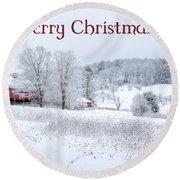 Red Barn Christmas Card Round Beach Towel