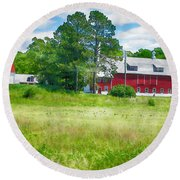 Red Barn Round Beach Towel by Erika Weber