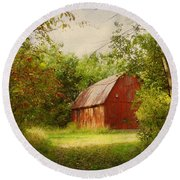 Red Barn In The Woods Round Beach Towel