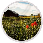 Round Beach Towel featuring the photograph Red Barn by Meghan at FireBonnet Art