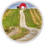 Red Barn On The Hill Round Beach Towel