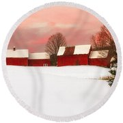 Red Barn Sunset Round Beach Towel