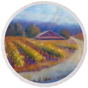 Red Barn Vineyard Round Beach Towel
