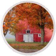 Red Barn With White Barn Door Round Beach Towel by Jeff Folger
