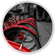 Red Bicycles Round Beach Towel