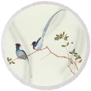 Red Billed Blue Magpies On A Branch With Red Berries Round Beach Towel by Chinese School