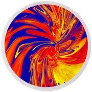 Red Blue Orange Red Yellow Swirl Round Beach Towel