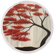 Red Bonsai Round Beach Towel