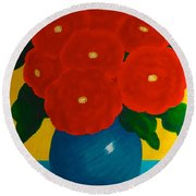 Round Beach Towel featuring the painting Red Bouquet by Anita Lewis
