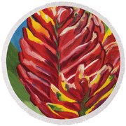 Red Bromeliad Round Beach Towel
