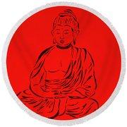 Red Buddha Round Beach Towel