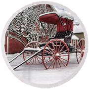 Round Beach Towel featuring the photograph Red Buggy At Olmsted Falls - 1 by Mark Madere
