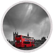 Red Bus Round Beach Towel