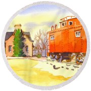 Round Beach Towel featuring the painting Red Caboose At Whistle Junction Ironton Missouri by Kip DeVore