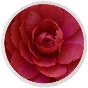 Red Camellia Round Beach Towel