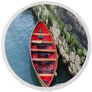 Red Canoe Round Beach Towel by Mary Carol Story