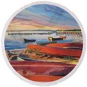Red Canoe Sunset Round Beach Towel