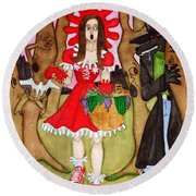 Round Beach Towel featuring the painting The Little Riding Hood And The Wolf In Chucks by Don Pedro De Gracia