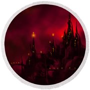 Red Castle Round Beach Towel