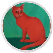 Red Cat Round Beach Towel by Pamela Clements
