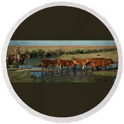 Red Cattle Round Beach Towel by Diane Bohna