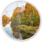 Red Cedar Fall Colors Round Beach Towel by Lars Lentz