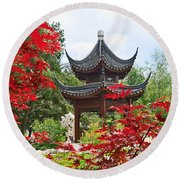 Red - Chinese Garden With Pagoda And Lake. Round Beach Towel