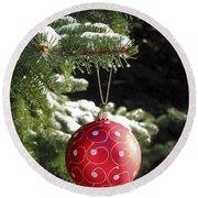Red Christmas Ball On Fir Tree Round Beach Towel